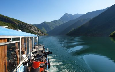 Beautiful ferry ride across the tranquil Drin river's canyon