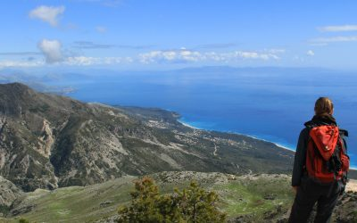 View from Llogara Pass, with Greek island Corfu in the far distance
