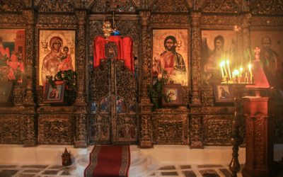 Various icons and frescoes decorate the interior of orthodox St. Mary's church